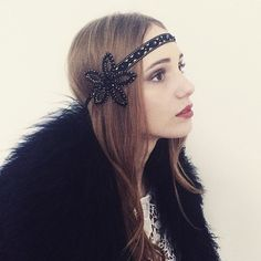 Black Gold Flower 1920 Great Gatsby Headband  Headpiece