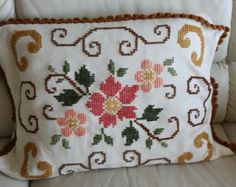 """50's  Embroidered decorative pillow case hand made European vintage 50s , metal zipper, 17"""" by 24""""one of a kind"""