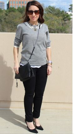 My grey and white layered outfit on Pretty In Her Pearls blog.