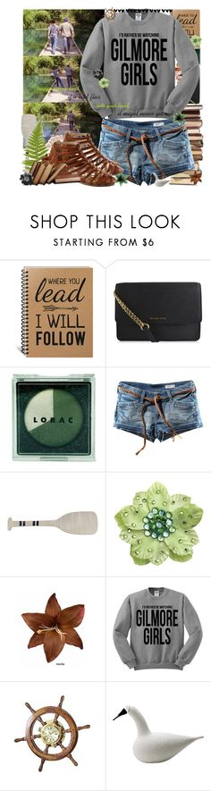 """""""Ever worry that if a bird flies into your hair, it might never get out?"""" by sammylynn ❤ liked on Polyvore featuring MICHAEL Michael Kors, LORAC, H&M, Sadie & Scout, Tarina Tarantino, Clips, WALL and iittala"""