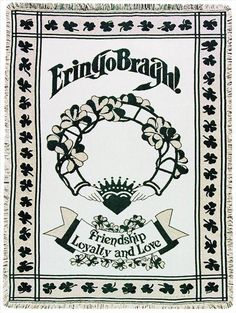 """Throw Blanket """"Erin Go Braugh"""" Irish Tapestry Cotton 50"""" x 60"""" Made In The USA…"""