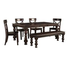 Signature Design by Ashley Gerlane Dark Brown Table and Four Chairs Set   Overstock.com Shopping - The Best Deals on Dining Sets