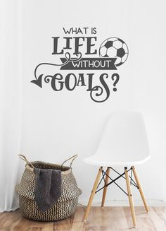 Soccer Wall Decal Soccer Life Soccer Goals van HueSays op Etsy jungs kleiner raum hochbett Soccer Wall Decal, Soccer Life, Soccer Goals, Life Without Goals Boys Football Bedroom, Football Rooms, Soccer Room, Life Soccer, Soccer Goals, Soccer Decor, Bedroom Themes, Home Decor Bedroom, Bedroom Wall