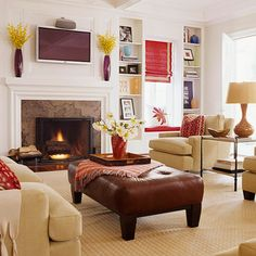 Entertainment Center              The space above the fireplace is becoming popular for flat-panel TVs. Before mounting a TV above your mantel, however, make sure the wall temperature doesn't exceed 90 degrees when the fire is lit. The space behind the mounting area should be hollow to accommodate necessary wiring