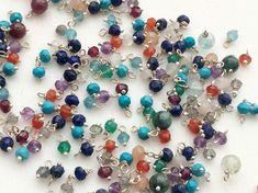 25 pcs Multi Gemstone Rondelle Beads Wire Wrapped by gemsforjewels