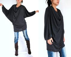 Boho Oversized Women Black Blouse / Black Tunic - Oversized Tunic / small medium large dolman sleeve top mini dress