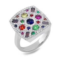 #Malakan #Jewelry - Platinum-Silver Ladies Mixed Stone Diamond Ring 78936A #Fashion #FashionRings #WomensFashion