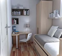 How to design a small bedroom layout ideas and inspiration for bedroom small table boys room dorm room designs small bedroom interior and bedroom layouts Very Small Bedroom, Small Bedroom Interior, Small Apartment Bedrooms, Small Space Bedroom, Apartment Bedroom Decor, Trendy Bedroom, Small Spaces, Small Bedrooms, Bedroom Furniture