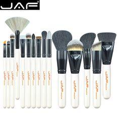 JAF 15 pcs/set Makeup Brushes of Powder Foundation Contour Blush Eyeshadow Eye Blending Eyeliner Make Up Brush J1501M-W