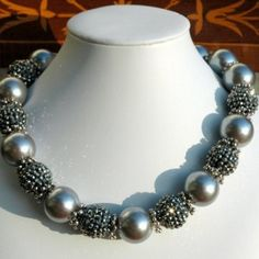 Large Gray Pearls with Charcoal Rhinestone Beads
