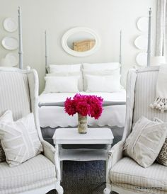 DIY:: How to Decorate End of Bed with Chairs- Gorgeous !