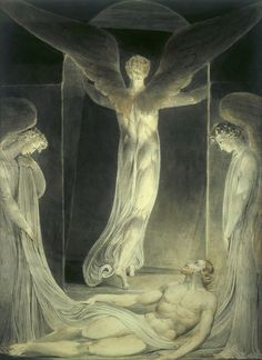 """I love William Blake depictions of Angels. William Blake """"The Resurrection: The Angels rolling away the Stone from the Sepulchre"""" Art Romantique, Arthur Rackham, Angels Among Us, Mystique, Illustration, Victoria And Albert Museum, Sacred Art, Bible Art, Christian Art"""
