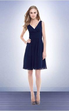 Sleeveless Zipper Deep V-neck Knee-length Chiffon Evening Dresses etfa307231--Hodress