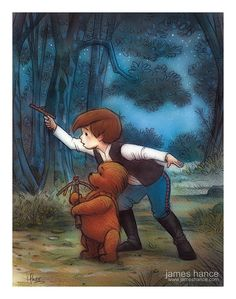 Christopher Robin keeping an eye out on a starry night in this Star Wars crossover