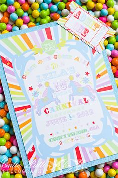 Items similar to Carnival Themed Invitations, Printable Custom Invitations by Cutie Putti Paperie on Etsy Circus Theme Party, Carnival Birthday, 1st Birthday Parties, Girl Birthday, Kid Parties, Birthday Ideas, Carnival Themes, Carnival Parties, Vintage Carnival