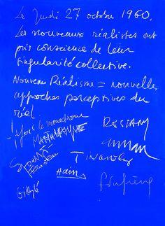Pierre Restany  Dichiarazione costitutiva del Nouveau Réalisme, 1960