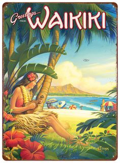 Greetings from Waikiki, Hawaii - Ukulele Hula Girl - Diamond Head Crater - Vintage Style Hawaiian Travel Poster by Kerne Erickson - Master Art Print - 12 x Hawaiian Art, Vintage Hawaiian, Aloha Vintage, Photo Vintage, Vintage Art, Vintage Style, Vintage Photos, Retro Style, Vintage Travel Posters