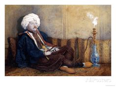 Portrait of Sir Thomas Phillips in Eastern Costume, Reclining with a Hookah Poster by Richard Dadd at AllPosters.com