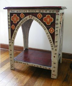 Gothic Style Table in papier maché by by Andrea Verstegen