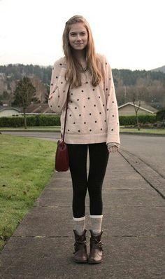 leggings, baggy sweater, high socks.