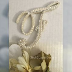 Double Sided Pearl Cake Topper Monogram by ShellCoastalDesigns