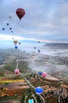 Balloon Flight with Clouds in Cappadocia Turkiye