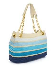 Another great find on #zulily! Cool-Tone Stripe Straw Chain Tote #zulilyfinds