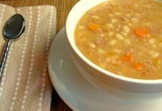 Bob Evans Copy Cat Bean Soup Recipe  I've found this to be very close to the restaurant's soup if you skip the blender step and add a couple cups of water ~Mel