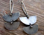 Nomad Earrings Sterling Silver Half Moon Dangle Earrings, Chunky Rustic Dangle Earrings