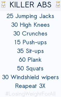 KILLER ABS ~ Losing Weight For All, fitness, workout