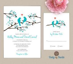 Love Bird Wedding Invitation and RSVP Set Personalized | Romantic Wedding Invitation | Spring Summer Wedding