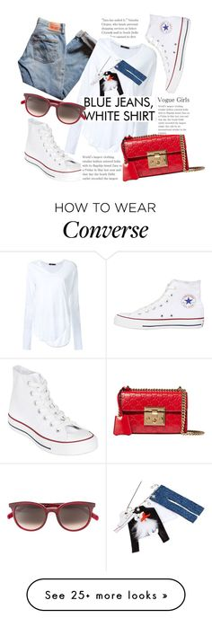 """""""Classic Blue Jeans & White Shirt."""" by hattie4palmerstone on Polyvore featuring Bassike, Converse, Levi's, Gucci and CÉLINE"""