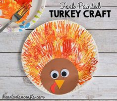 Thanksgiving crafts for kids: Sweet and easy crafting with this Fork-Painted Turkey Craft at I Heart Arts n Crafts.