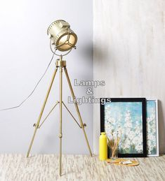 Designer Vintage Brass tripod floor lamp nautical searchlight home Decor Brass Floor Lamp, Floor Lamps, Lamps For Sale, Camera Tripod, Tripod Lamp, Vintage Designs, Nautical, Ebay, Studio
