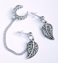 http://cheune.com/store Handmade(1) Ear Cuff Chained to Stud earrings w/leaf charm