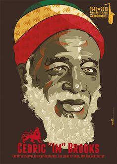 "Cedric ""Im"" Brooks. Jamaican saxophonist and flautist known for his solo recordings and as a member of The Mystic Revelation of Rastafari, The Light of Saba, and The Skatalites. Reggae Rasta, Rasta Art, Reggae Music, Rastafari Art, Black Music Artists, Michael Thompson, Reggae Artists, African Colors, Jamaican Music"