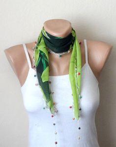 green scarf white flower brown beads  turkish yemeni  handmade
