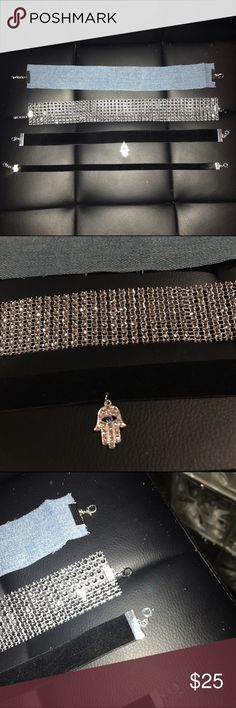 Gorgeous Choker Bundle Lot Handmade ✨  Fits one size. 12 in long. Has lobster clasp for adjustments.   Silver Bling Wide Collar princess mesh faux rhinestone diamond sparkly chocker & Blue Jeans Denim choker & thick black velvet choker w/ Hamsa hand charm & Also black velvet thin choker. Super trendy style with these chokers at an amazing price  Brands in my closet include: H&M, Forever 21, Victoria's secret pink, Nike, Urban Outfitters, Pacsun, LF, Brandy Melville, topshop, Free People…