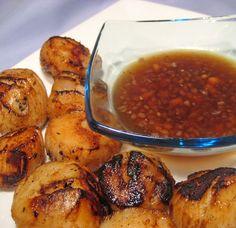 Grilled Scallops, Lemon Ginger Sauce