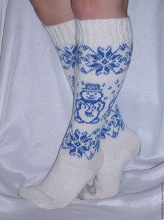 """Купить Гольфы """"Снежные"""" - разноцветный, Жаккардовый узор, вязание, вязание спицами, гольфы, синий цвет High Socks, Fashion, Moda, Thigh High Socks, Fashion Styles, Stockings, Fashion Illustrations"""