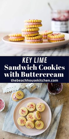 These Key Lime Sandwich Cookies with Raspberry Buttercream are tangy key lime butter cookies sandwiched with a creamy, fruity raspberry buttercream. They're two treats in one and perfect for your Valentine this year!