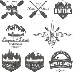 Set of kayak and canoe emblems, badges and design elements royalty-free set of kayak and canoe emblems badges and design elements stock vector art & more images of mountain