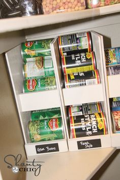 Make these for the Pantry!  Keeps everything rotated and easy to see what you have and what to put on the grocery list.