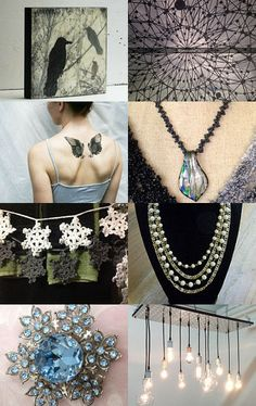 Winter Treasures--Pinned with TreasuryPin.com #black and #white #photography #blackbirds #blue #brooch #classic #black #bracelet #set #dichroic #glass #pendant #doily #banner #encaustic #painting #hand #crochet #garland #interior #design #necklace #newsboy #hat #soft #toddler #original #photography #paper #flower #garland #photo #note #cards promooasis #rhinestone #brooch #1950 #snowflakes #vintage coro 4 #strand #necklace