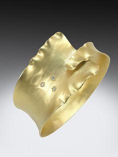 Ruffled Diamond Cuff by Jewelry Designer Q Evon in Asheville NC  More info:  http://www.qevon.com