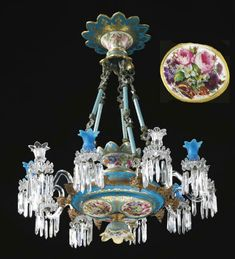 A FRENCH ORMOLU-MOUNTED TURQUOISE OVERLAY AND OPAQUE WHITE GLASS TEN-LIGHT CHANDELIER MID 19TH CENTURY, PROBABLY BACCARAT OR LAUNAY, HAUTIN & CIE. PAINTED BY JEAN-FRANÇOIS ROBERT.