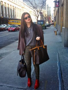 f83e767f587c Travel outfit- cute top, jacket and my Louis Vuitton Neverfull Lv Bags,  Fashion