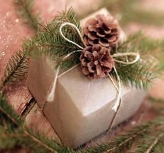 Nice and Simple Gift wrapping..... Brown paper..., String..., Pine cones and pieces of a tree branch. Country elegance.