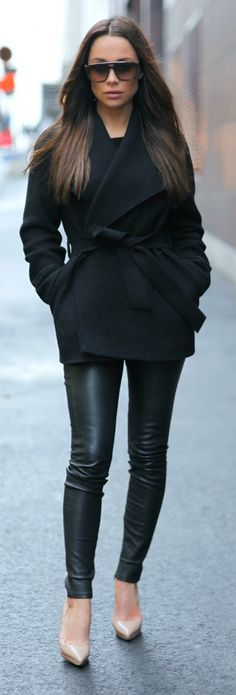 Black on Black / Ines Jacket with Clean Side Zip Leather Leggings by Johanna Olsson