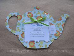 tea party templates | Bridal Shower Tea Party Invitation Template.